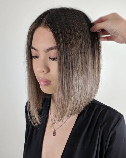 balayage cheveux lisses de longueur moyenne