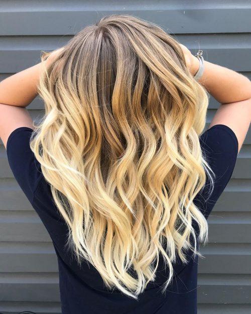 Ombreur brun clair à blond sur cheveux longs