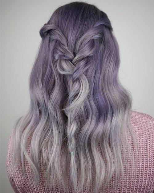 Balayage gris clair et violet