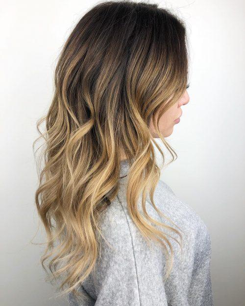 Balayage blond et brun foncé