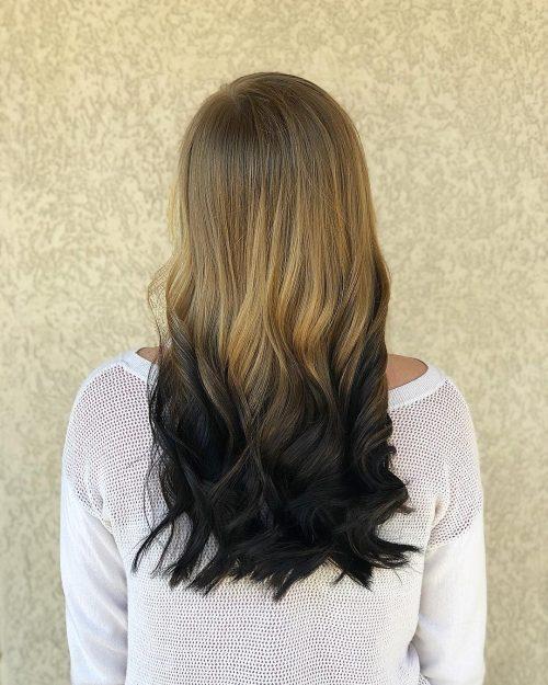 Cheveux bruns et noirs ombrés