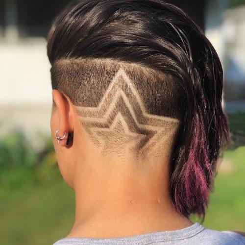 Tatouage de cheveux en forme d'étoile