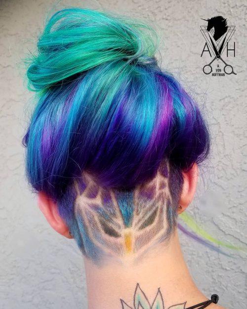 Lovely Owl Undercut Women Design on Long Hair (en anglais)