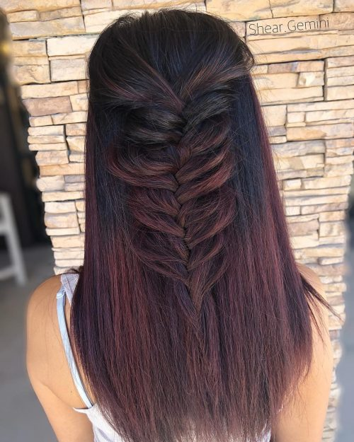 Couleur de cheveux noire, rouge et violette