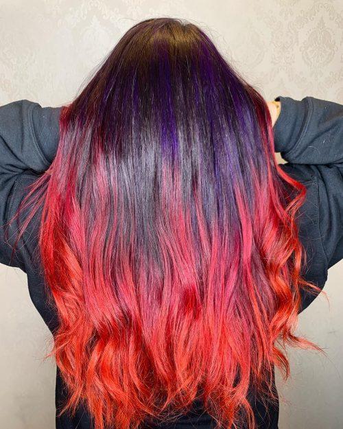 Rouge, orange et violet