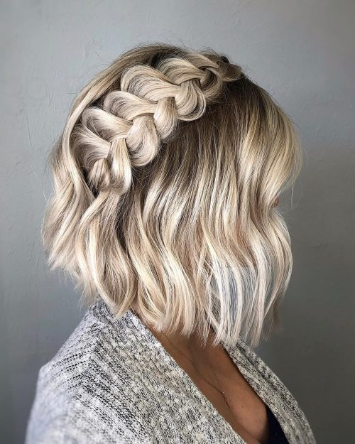 Rooted Icy Blonde Bob