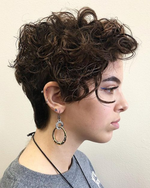 Cool Long Curly Pixie Cut