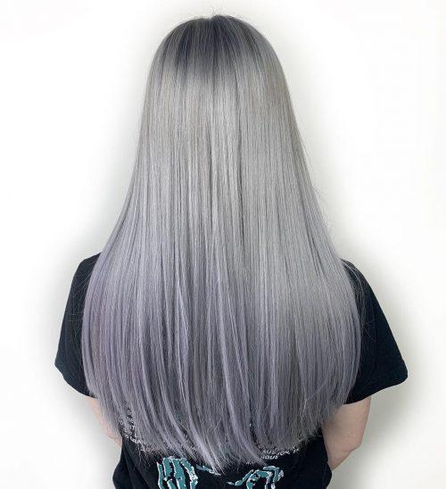 Couleur de cheveux ombre argentée lavande