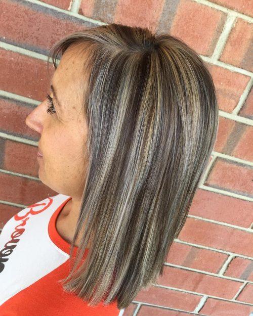 Mèches pour cheveux bruns grisonnants