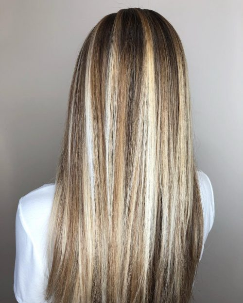 Brun clair avec de grosses mèches blond clair