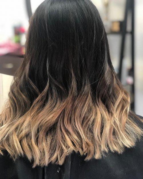 Blonde ombre sur cheveux foncés