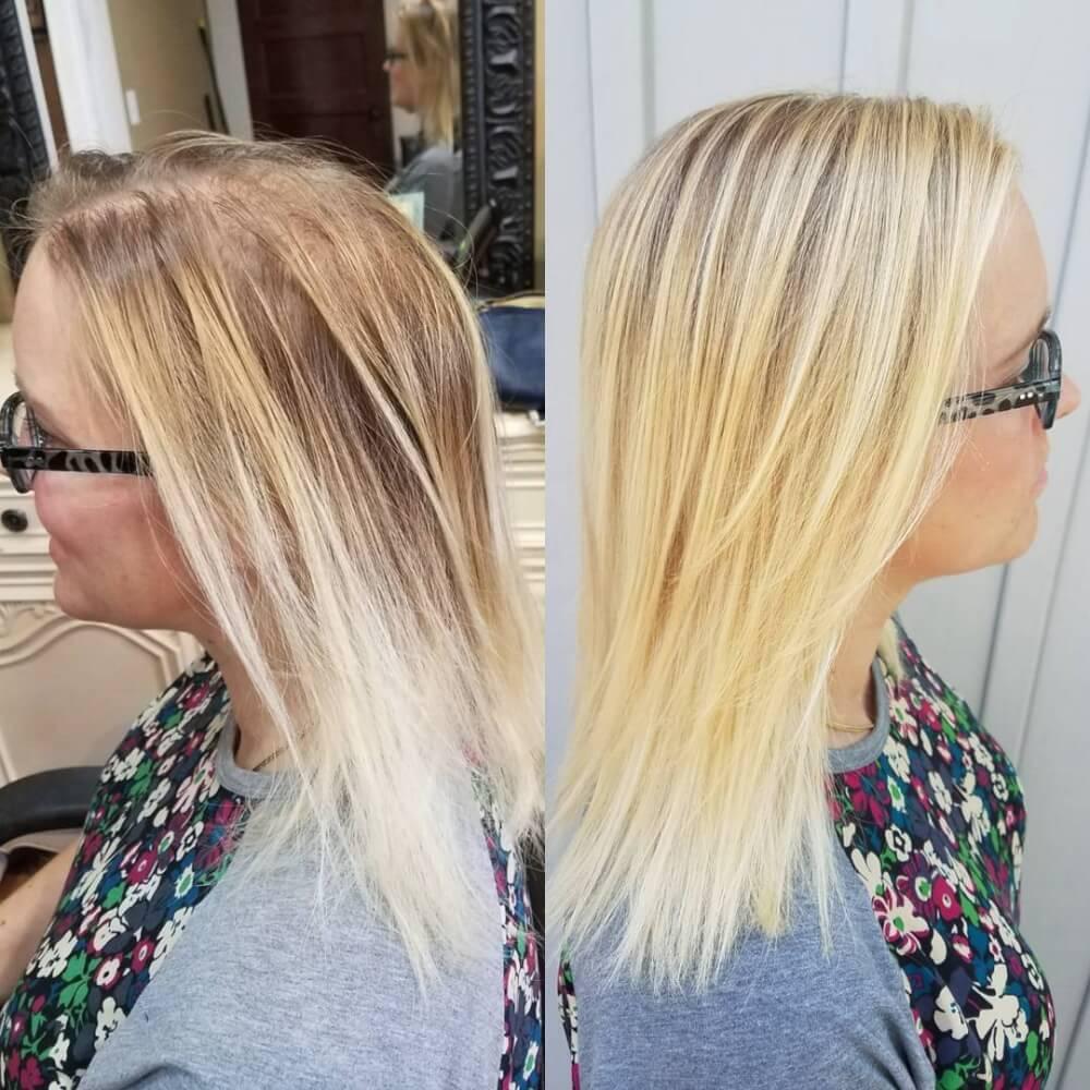 Coiffure Blonde Illusion pour les cheveux fins ou clairsemés.