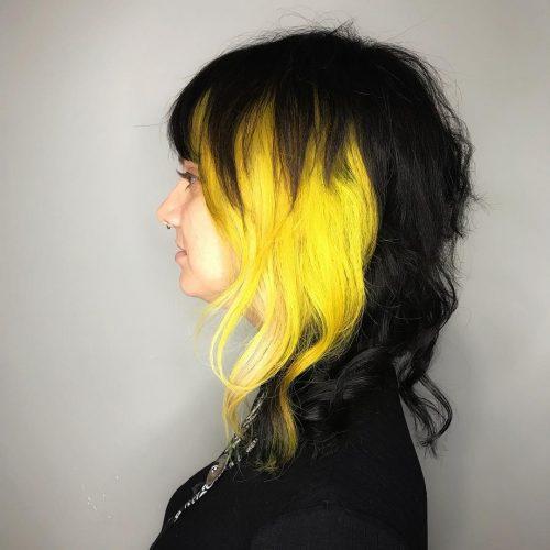 Couleur de cheveux noir et jaune