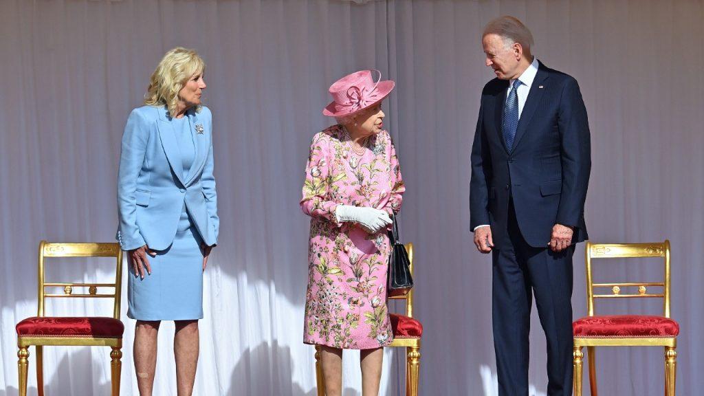 First Lady Dr Jill Biden, Queen Elizabeth II and U.S. President Joe Biden attend the president's ceremonial welcome at Windsor Castle on June 13, 2021 in Windsor, England. Queen Elizabeth II hosts US President, Joe Biden and First Lady Dr Jill Biden at Windsor Castle.