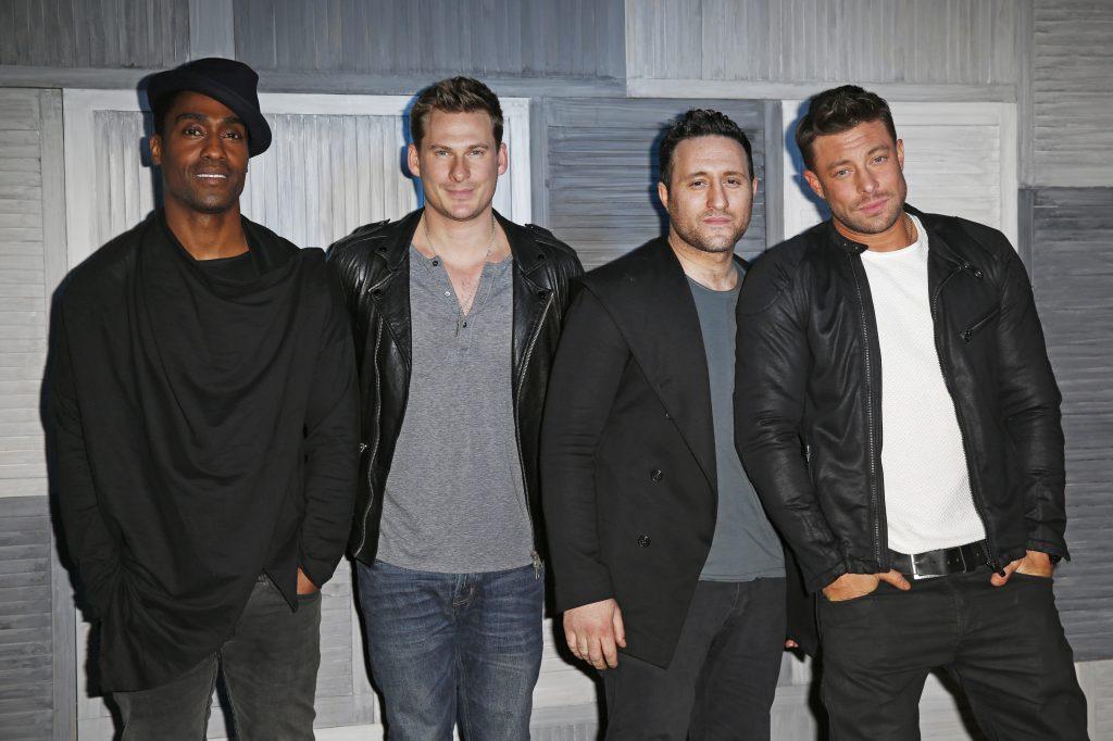 Simon Webbe, Lee Ryan, Antony Costa et Duncan James de Blue arrivent à une fête organisée par Kevin Systrom et Jamie Oliver d'Instagram.