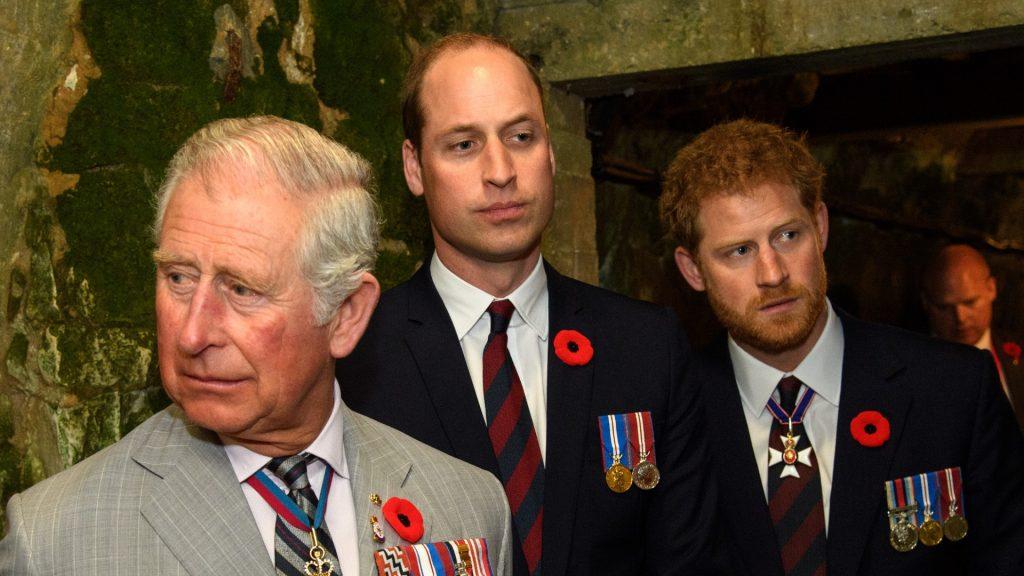 Le prince Charles, prince de Galles, le prince William, duc de Cambridge et le prince Harry visitent un tunnel construit pendant la Première Guerre mondiale lors des commémorations du 100e anniversaire de la bataille de la crête de Vimy, le 9 avril 2017.