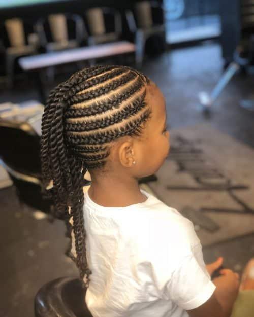 coiffures mohawk avec tresses pour enfants
