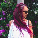 Burgundy box braids
