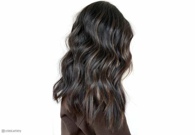Brown highlights on black hair