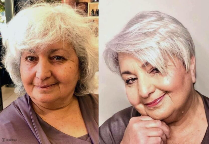 Haircuts for women over 60 with round face shapes