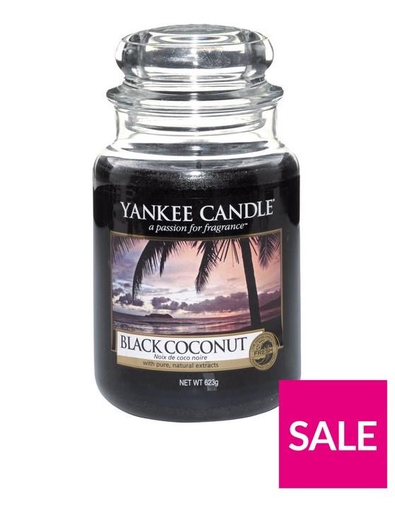 Bougie Yankee Grand Pot - Noix de Coco Noire