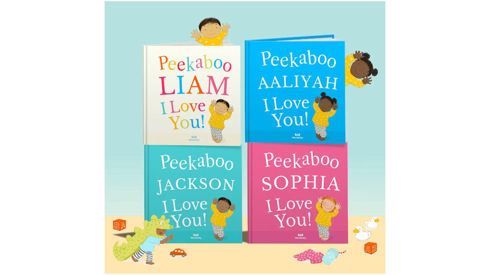 un livre personnalisé de personnages peekaboo pour enfants