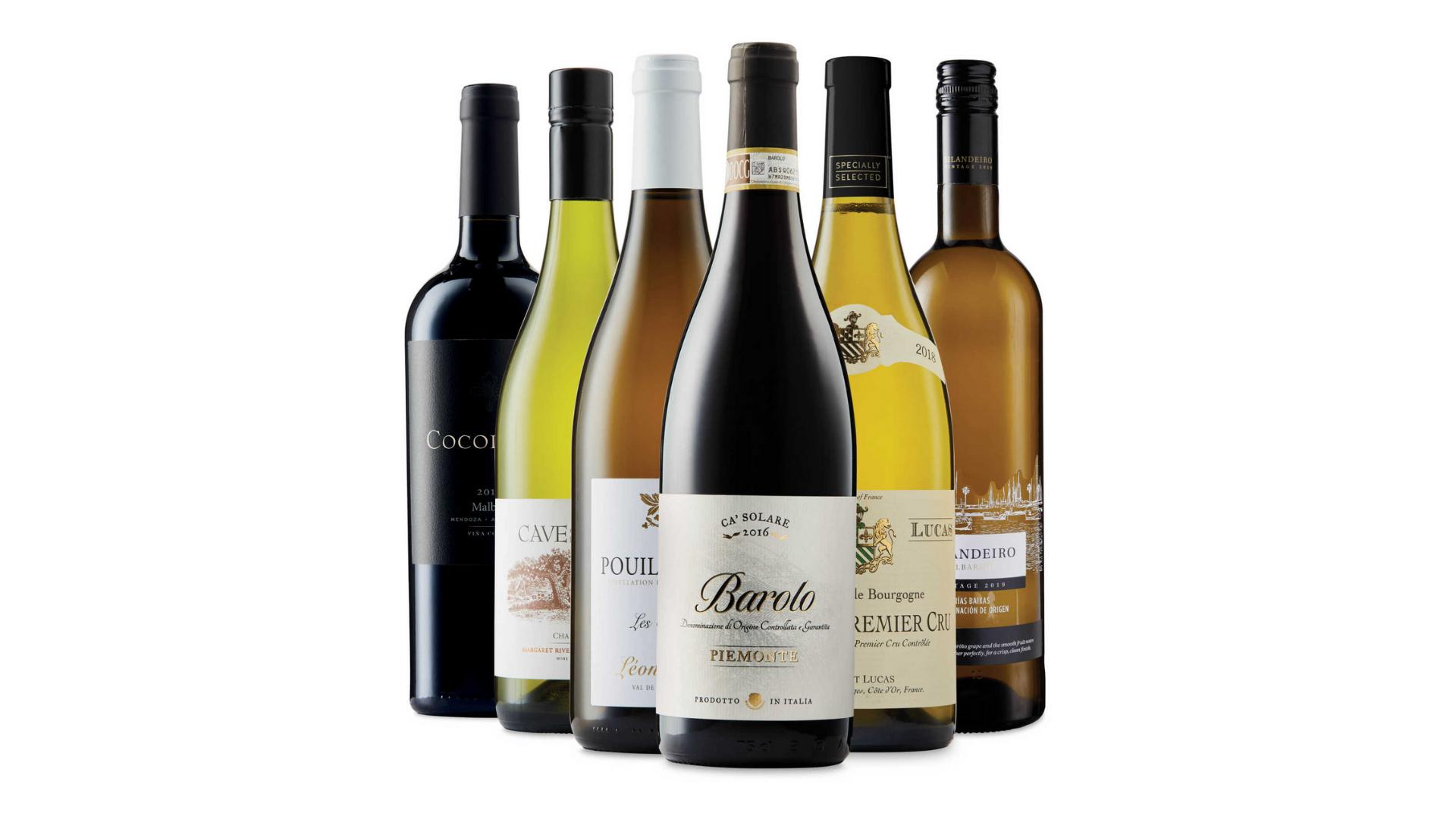 Une sélection de vins Aldi disponibles à la vente en ligne