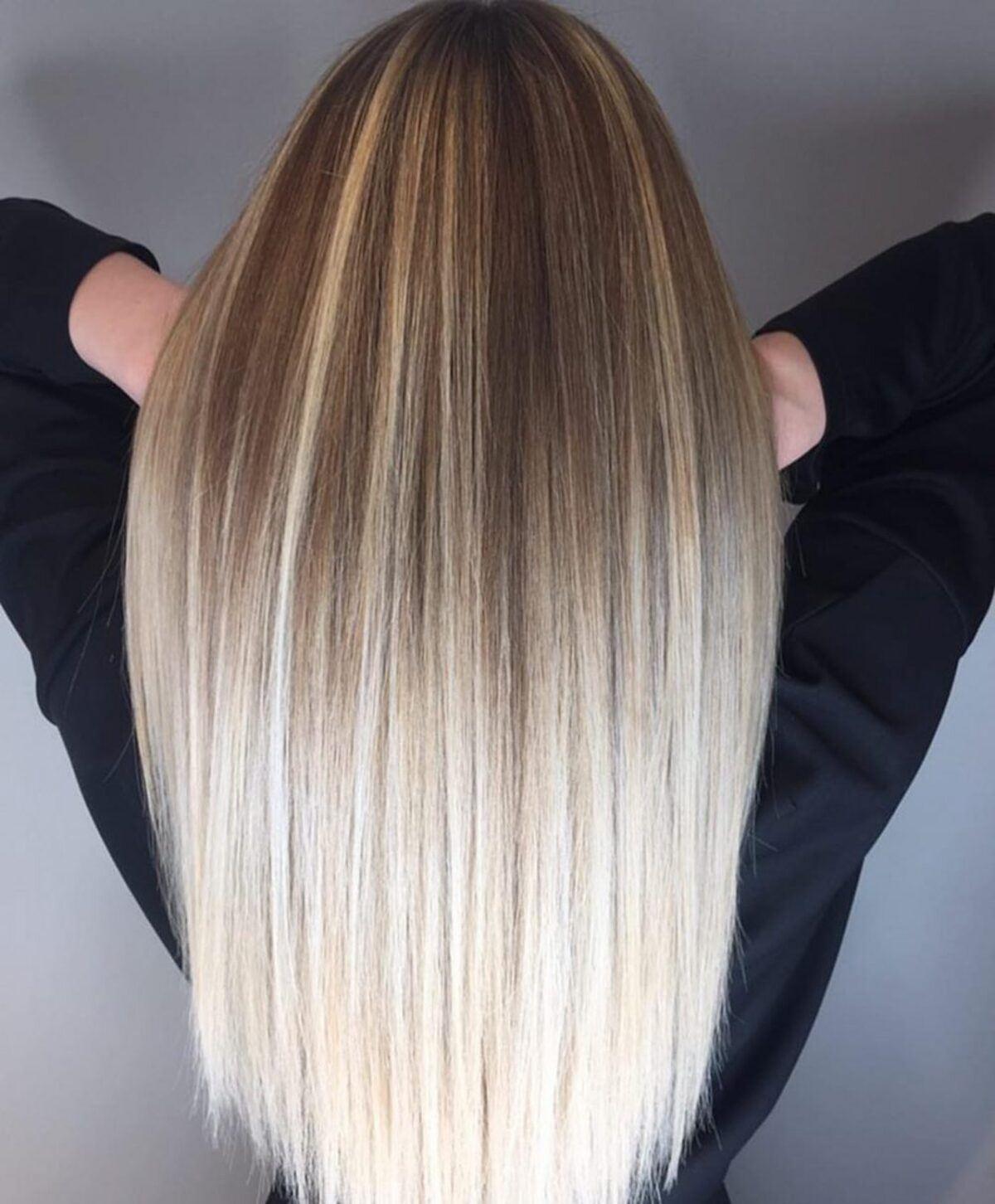 Ombre droite brun doré à blond