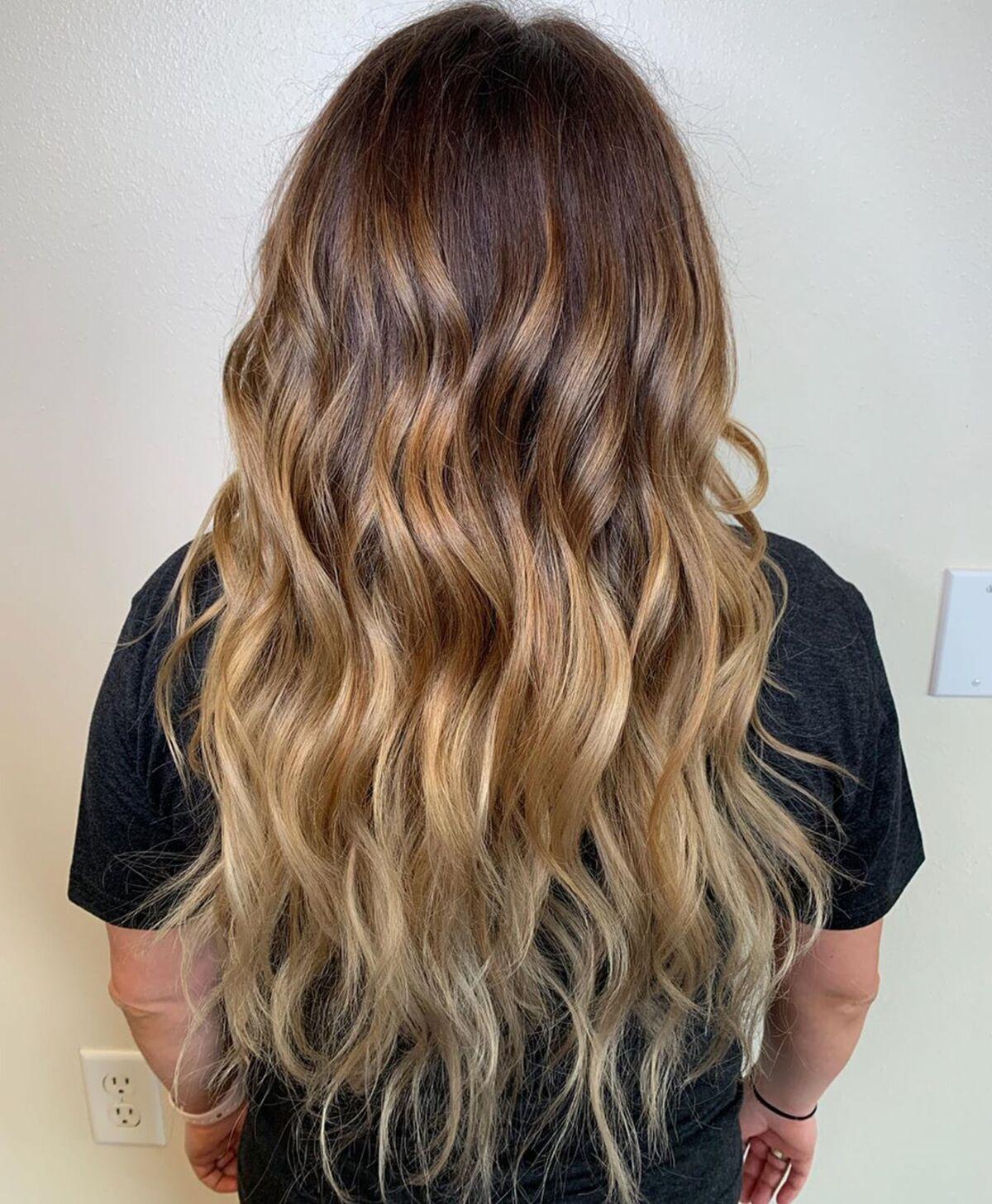 Ombre rouge brun à blond