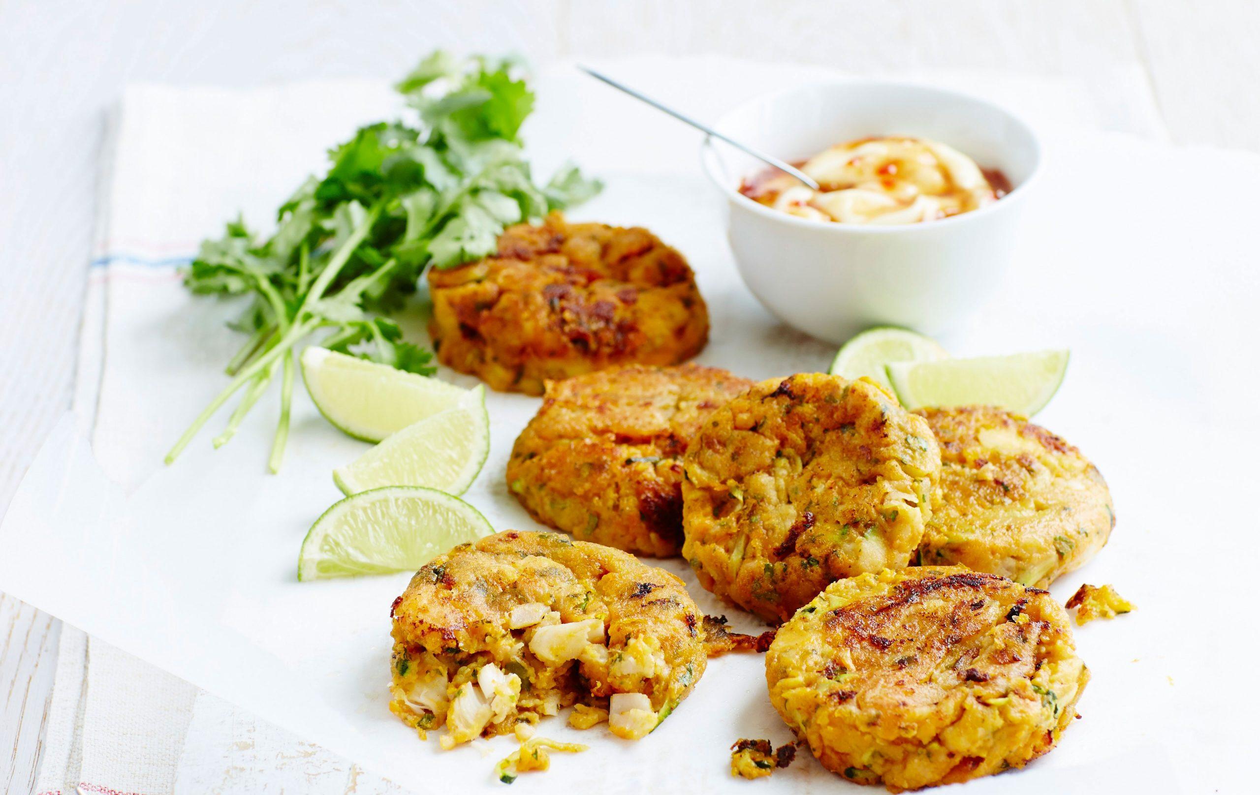 Galettes de poisson à la patate douce et à la courgette, repas basses calories