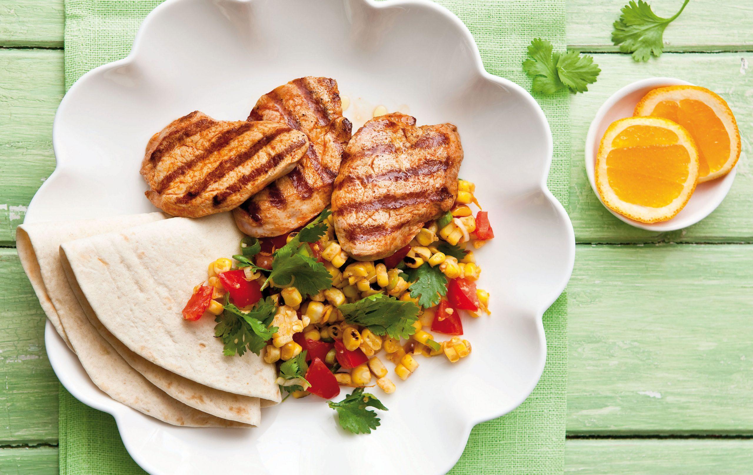 Porc à la mexicaine avec salsa de maïs