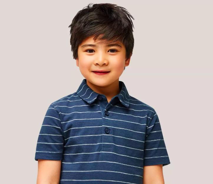Polo rayé à manches courtes pour enfants John Lewis & Partners, marine similaire à la tenue du 8e anniversaire du Prince George