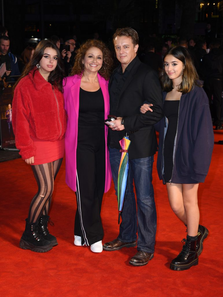Nadia Sawalha and Mark Adderley with family attend the