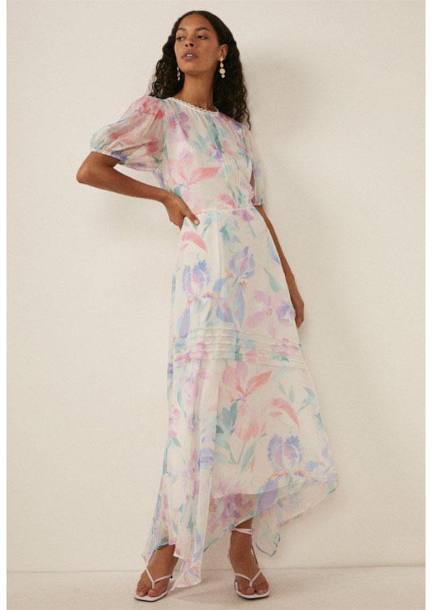 Oasis Ivory Floral Print Pintuck Hanky Hem Dress