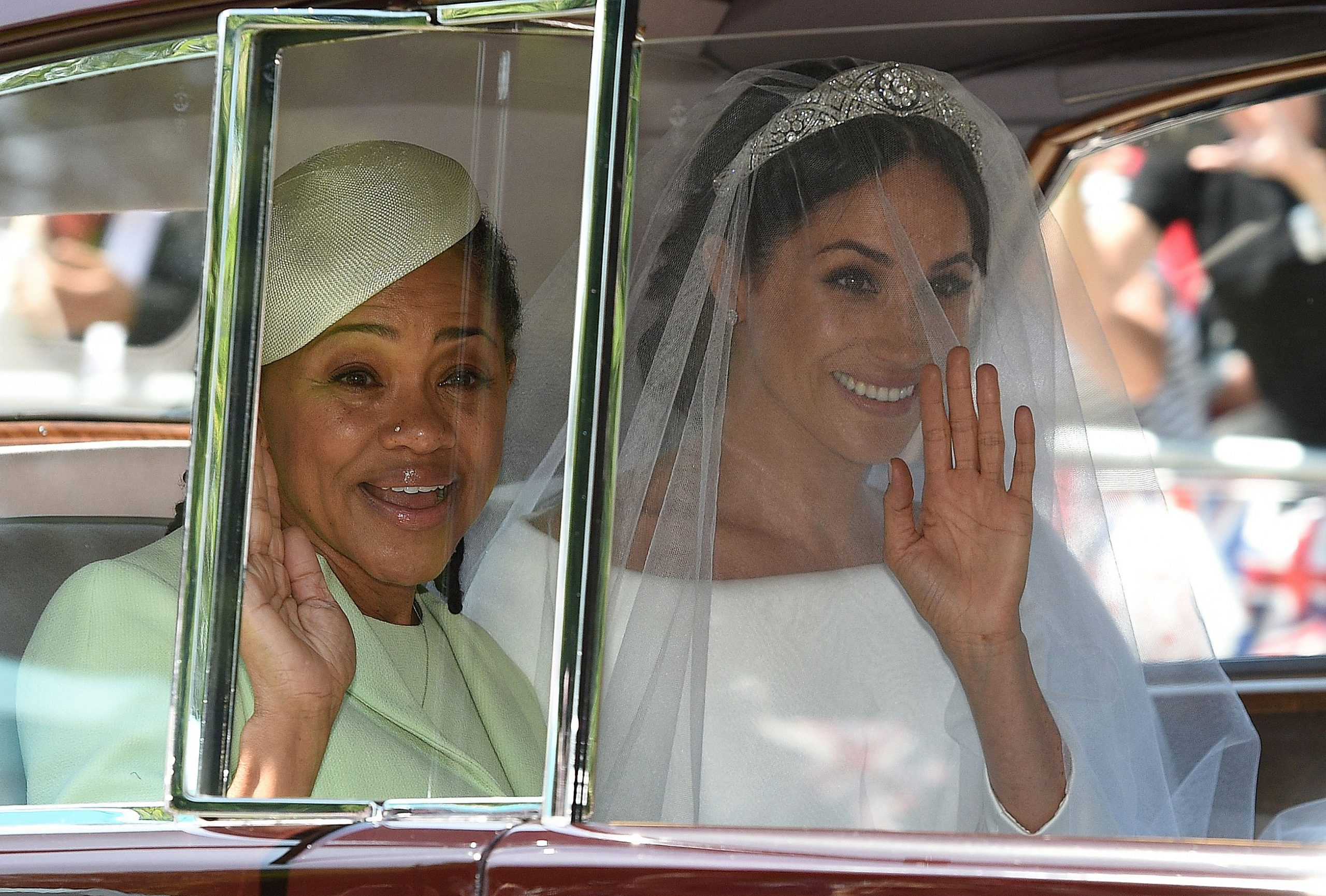 Meghan Markle and one of her parents - mum Doria on her wedding day