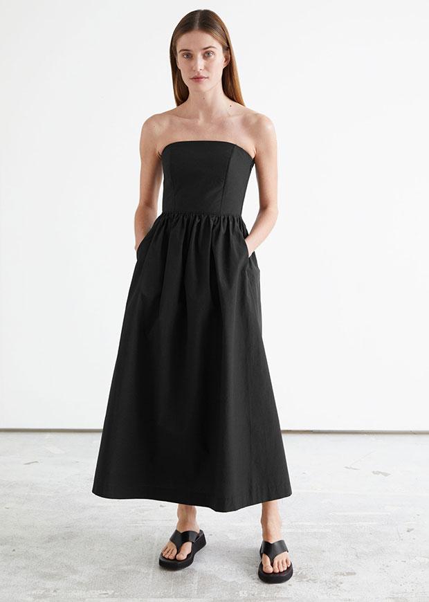 &amp ; Other Stories Voluminous Bandeau Midi Dress