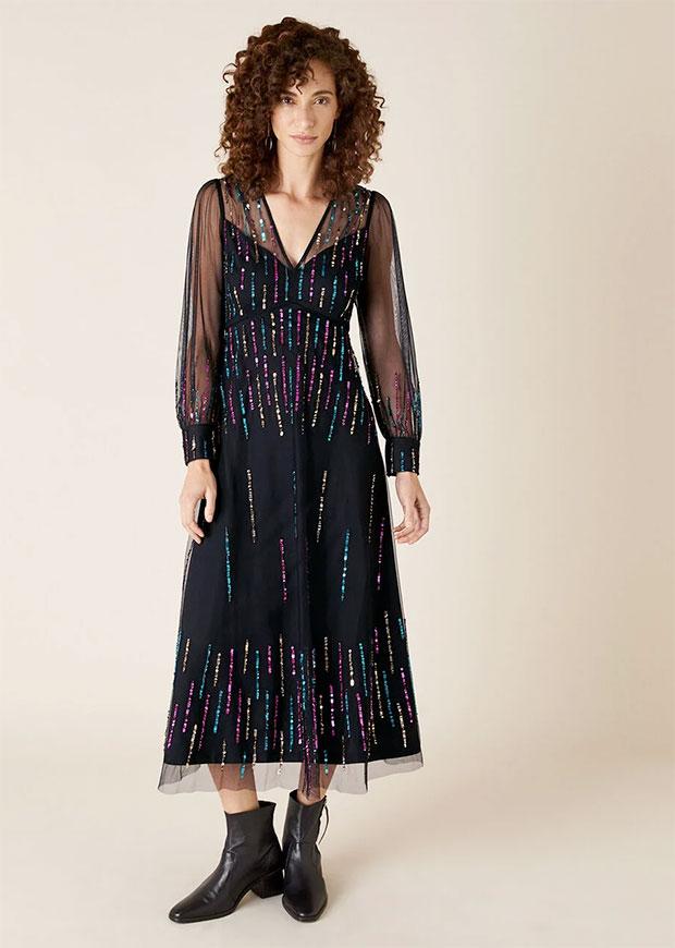 Monsoon Louise Sequin Midi Dress