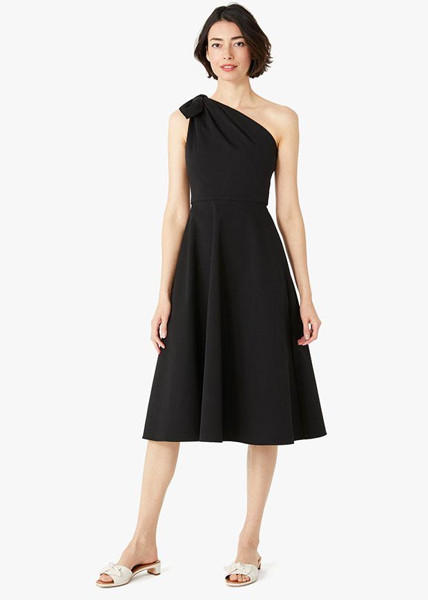 Kate Spade Twill One-Shoulder robe noire que vous pouvez porter à un mariage