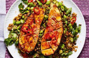 repas végétariens à faible teneur en calories aubergine au miso