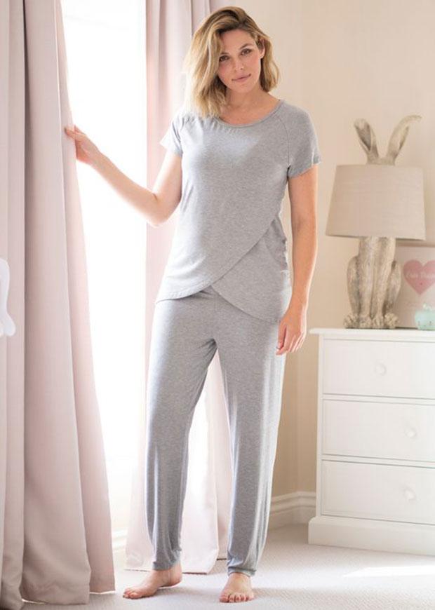 Pyjama de maternité et d'allaitement Seraphine Grey Crossover