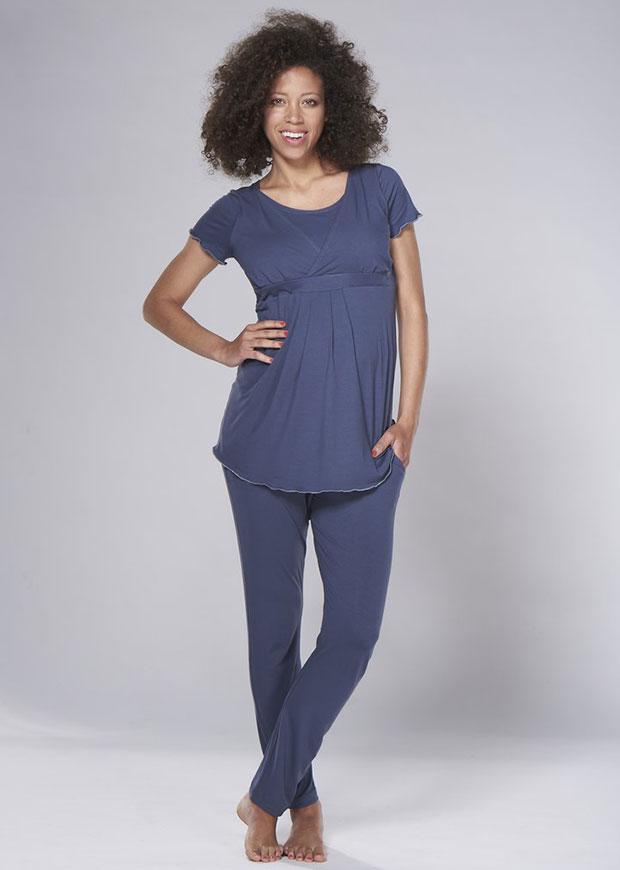 Pyjama de maternité et d'allaitement en bambou bleu Lily &amp ; Ribbon