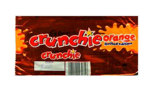 barre de chocolat crunchie orange