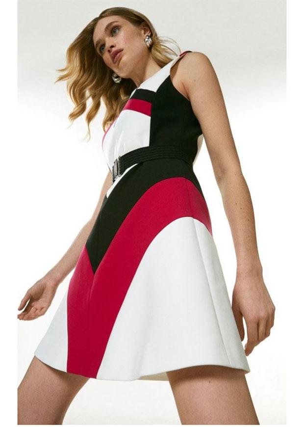 Karen Millen - Robe A Line Compact Stretch Colourblock