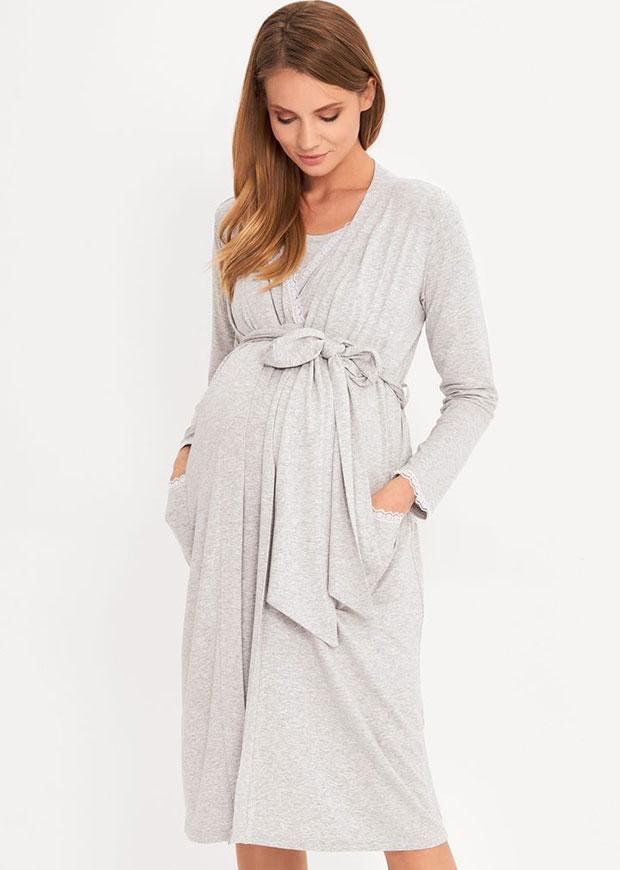 Robe de chambre de maternité et d'allaitement Lily &amp ; Ribbon Grey