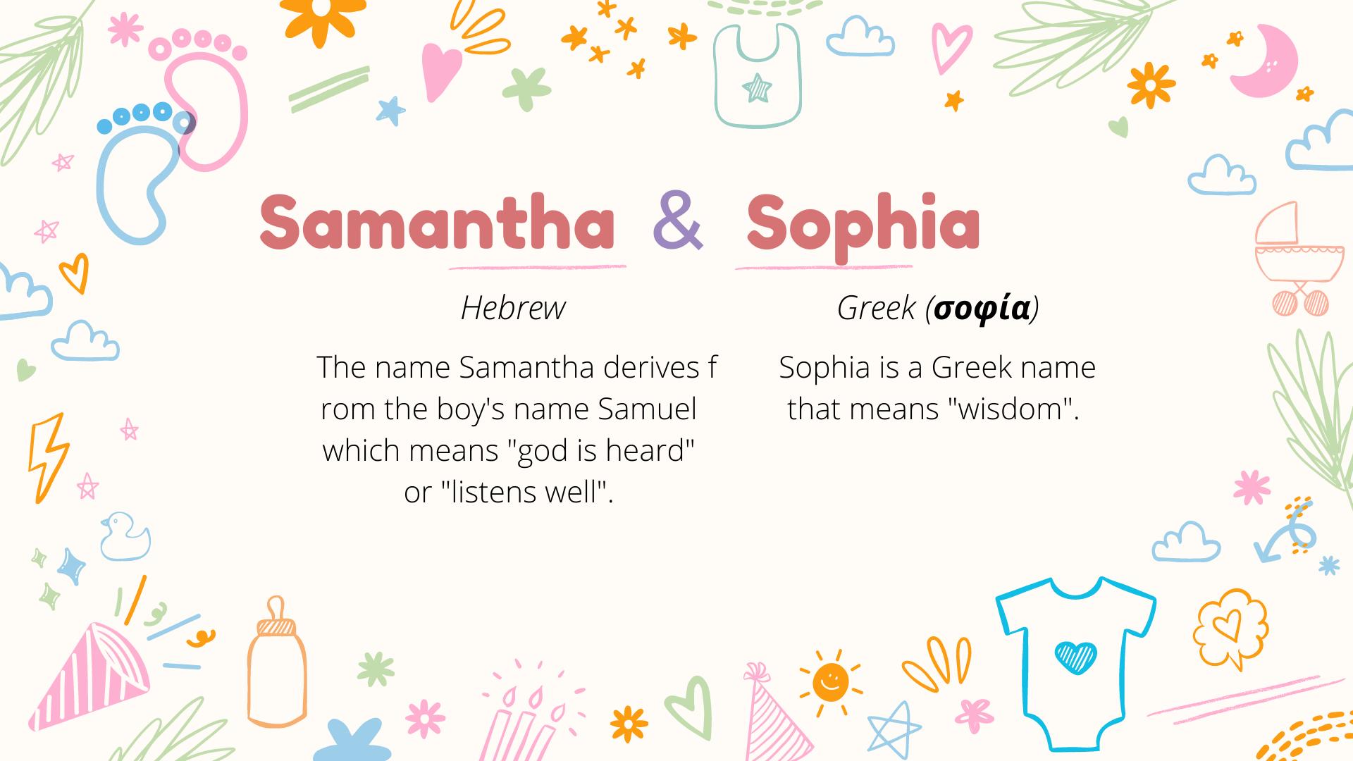 Signification des noms des jumelles Samantha et Sophia.