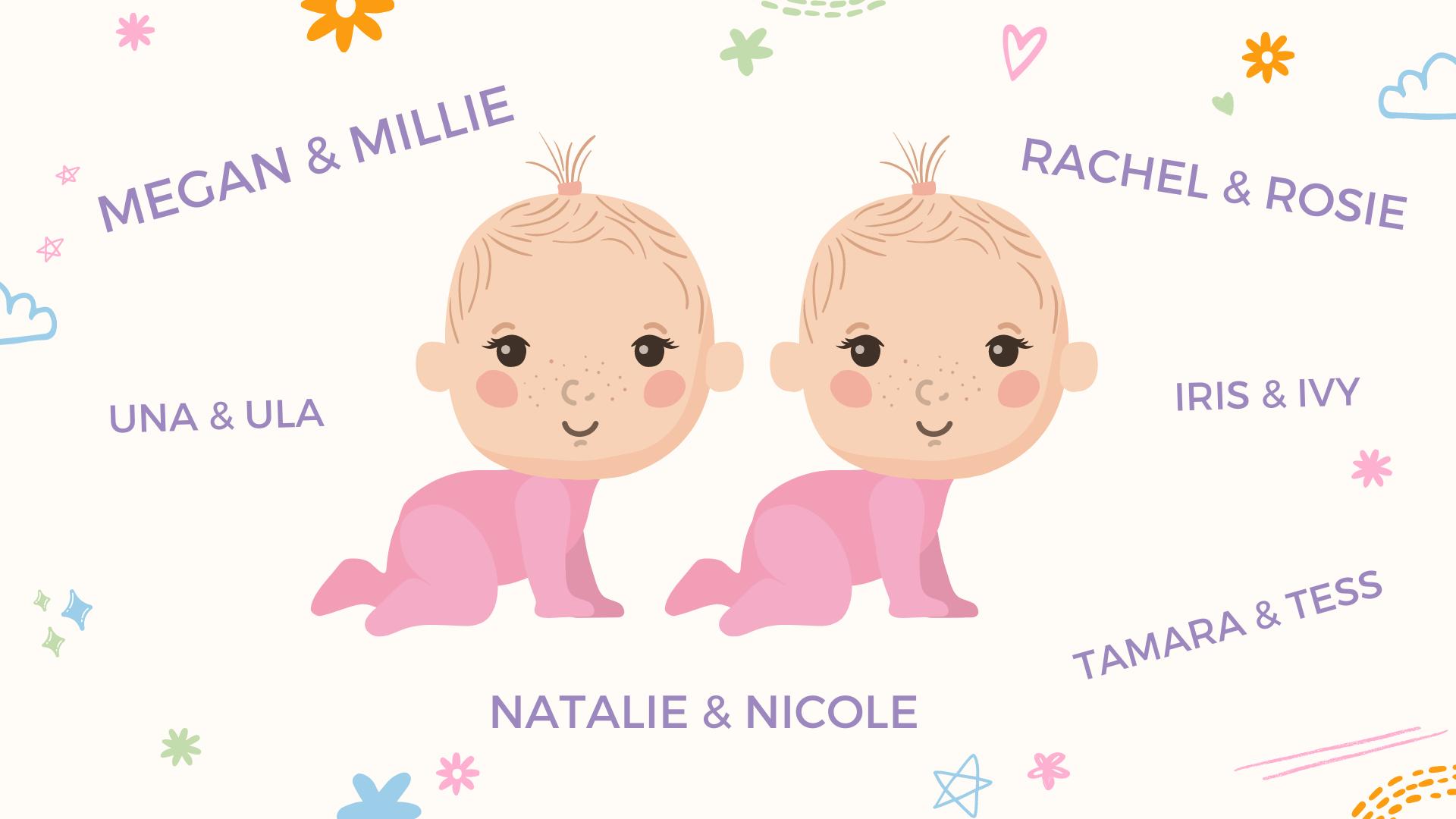 un collage de prénoms jumeaux de petites filles