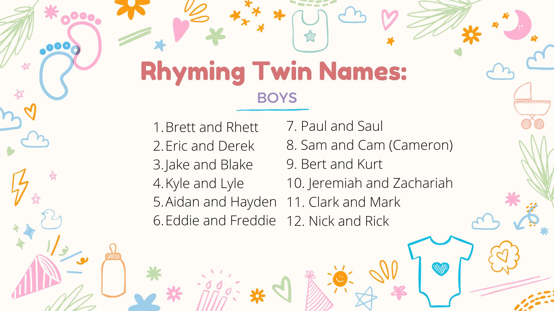 noms de jumeaux garçons qui riment
