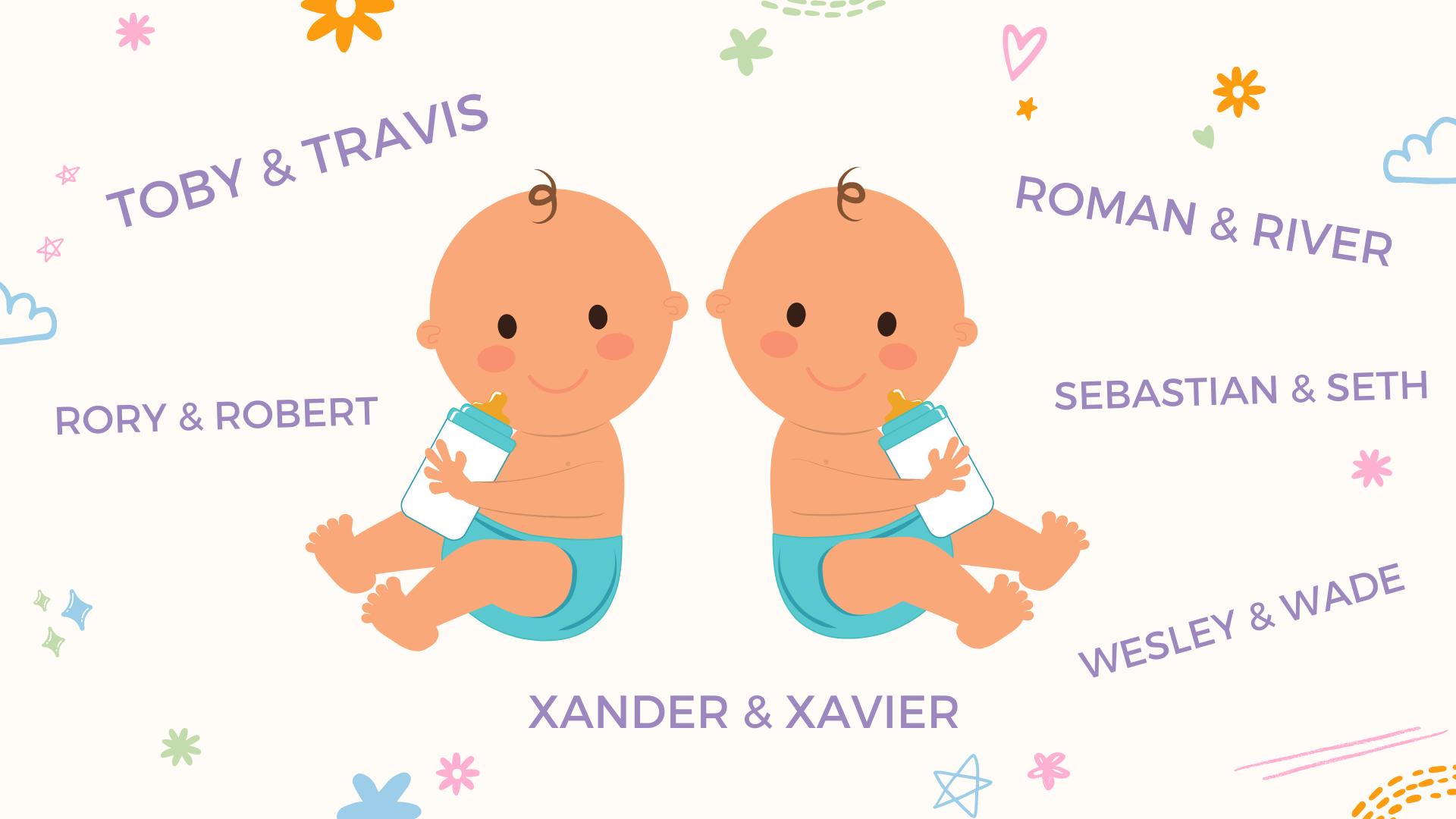 un collage de noms de jumeaux pour bébés garçons