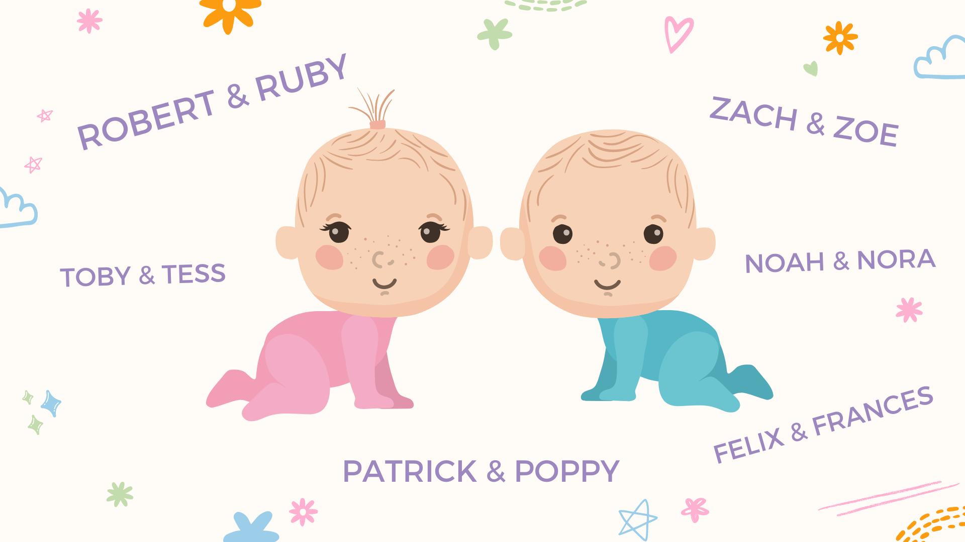 un collage de noms de jumeaux, filles et garçons, pour bébés
