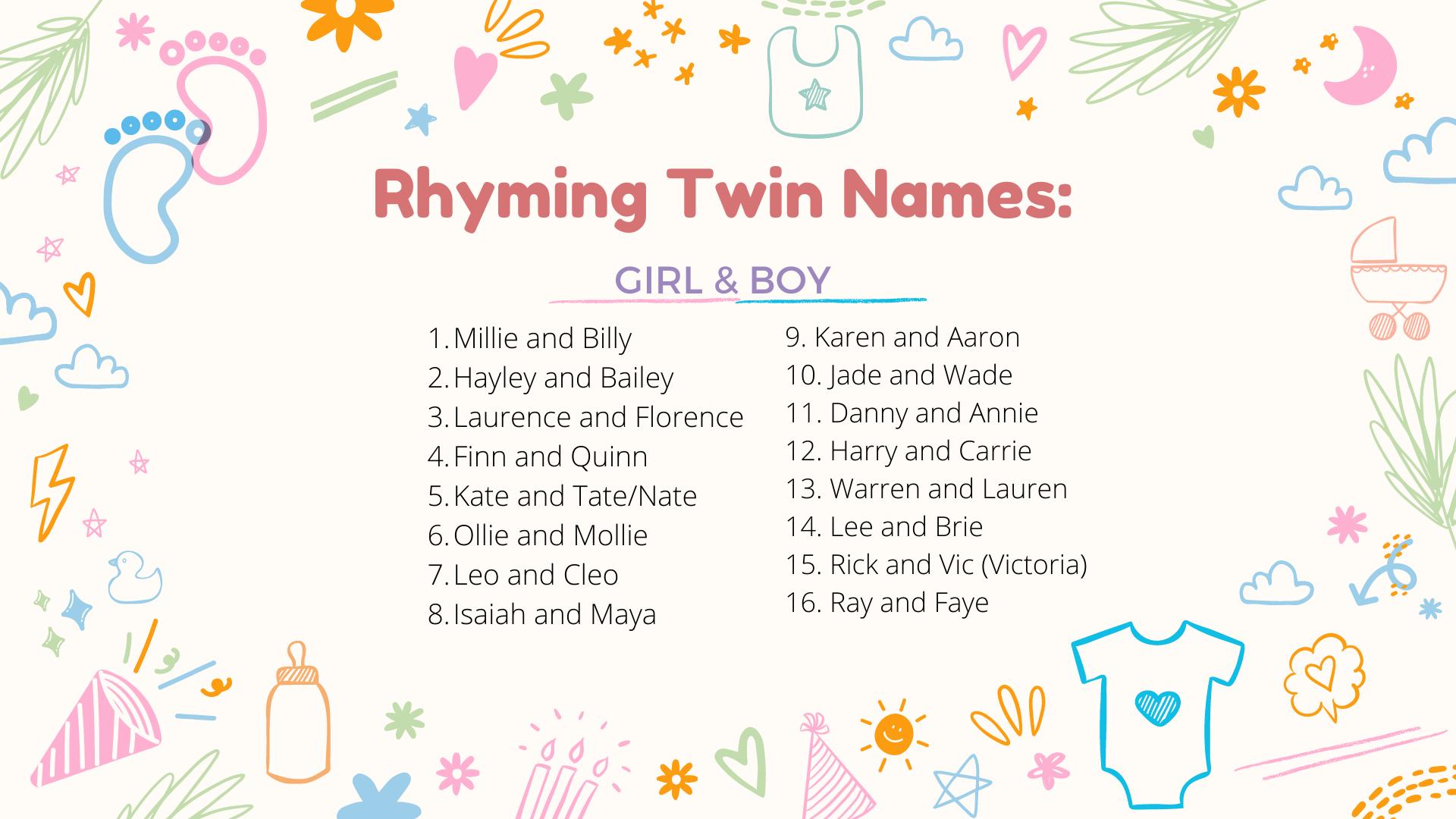 un collage de noms de jumeaux rimant pour garçons et filles